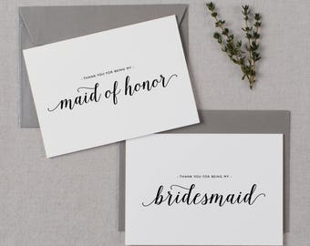 5 x Thank You For Being My Maid of Honor, Thank You Card Bridesmaid, Maid of Honor Card, Bridesmaid Card, Thank You Wedding Cards, K3
