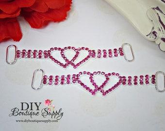 Hot Pink Heart Rhinestone headband Connectors Bikini Connectors Crystal RHinestone connector Valentine's Day Wedding Bridal Accessories N173