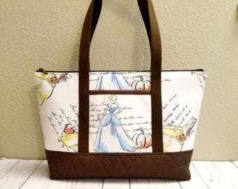 Classic Princess Zipper Tote / Cotton / New Design
