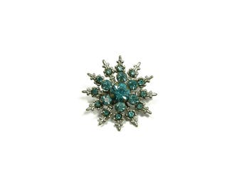 Vintage Estate Jewelry Small Size Snowflake Pin Brooch Turquoise Stones