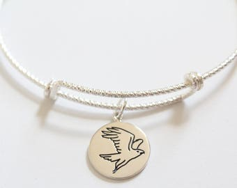Sterling Silver Bracelet with Sterling Silver Falcon Charm, Falcon Bracelet, Falcon Charm Bracelet, Silver Falcon Charm Bracelet, Bird