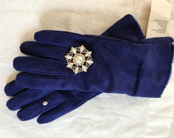 Attractive Royal Blue Faux Suede Gloves