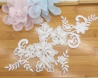 Light Ivory Beaded alencon lace applique for bridal head piece, wedding gown, venetian lace applique