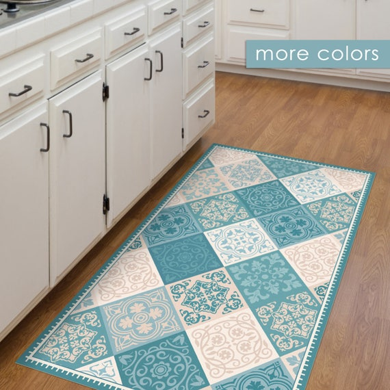 Vinyl Floor Mat Kitchen Mat With Tile Design In Turquoise