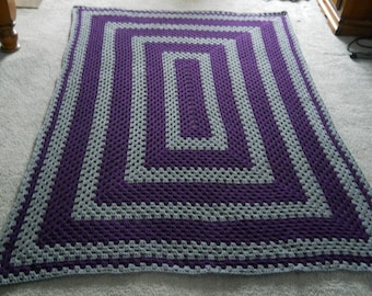 Crocheted Wedding/Anniversary/Graduation/Retirement/House Warming/Birthday/Christmas/Special Occasion Oblong Granny Square Afghan/Blanket