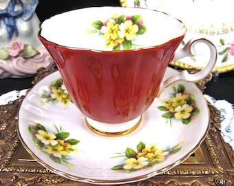 Royal Grafton tea cup and saucer Primrose pattern orange teacup  two tone pattern