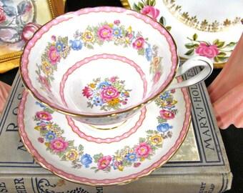 Shelley Tea Cup and Saucer Pink & Rose Floral Pompadour Pattern Teacup