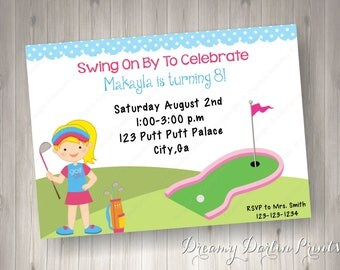 Printable Mini Golf Blonde Invitation, 5x7, 4x6, PDF, JPG, Personalized Putt Putt, Mini Golf Birthday Invite