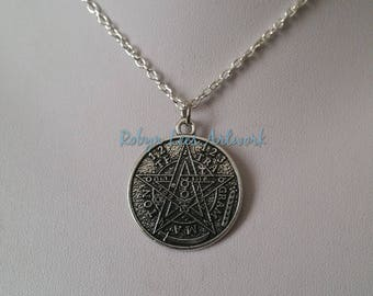Silver Tetragrammaton Coin Necklace on Silver Crossed Chain or Black Faux Suede Cord