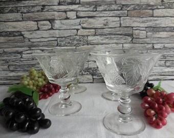 Vintage set of 4 sundae glasses