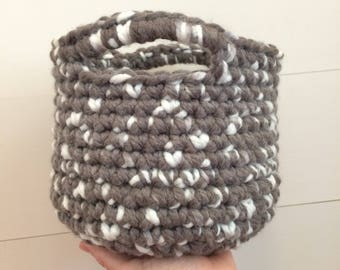 Small Crochet Basket Gray and White Perfect as a Gift Basket Bedside Basket Bathroom Counter Badket