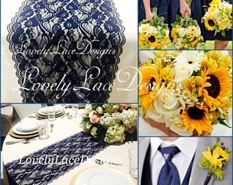 New NAVY BLUE Lace/Table Runner/3ft-11ft long x12in wide/Wedding Decor/Table Decor/NAVY/Centerpiece/Weddings//Ends Cut not sewn/Free Runner