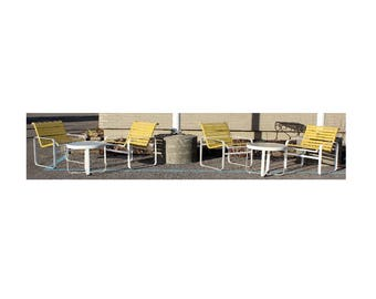 Mid Century Modern Brown Jordan Patio 4 Armchairs 2 Tables White & Yellow 1970s