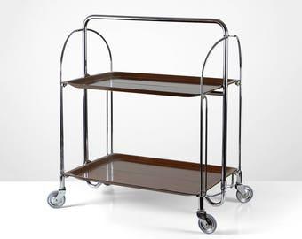 Foldable bar cart, 60s serving cart, rosewood design cart, 60s tea wagon, Mid Century trolley
