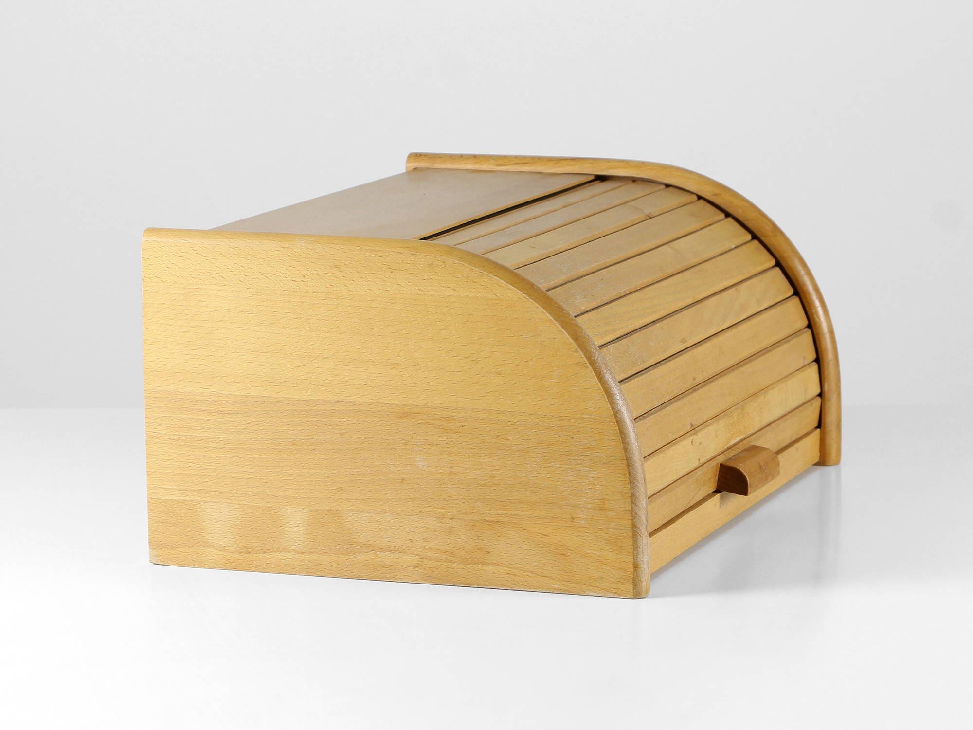 Vintage Bread Box, 60s Bread Box, Wooden Storage Box, Rolling Lid Bread Box