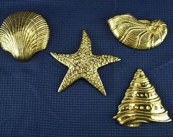 Vintage Brass Seashells Set of 4 Wall Hangings