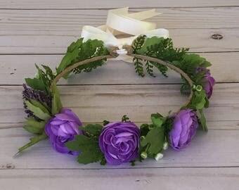 Purple Flower Crown, Purple Flower Girl Flower Crown, Maternity Photo Shoot, Child Bridal Crown, Boho Flower Crown, Purple Bridal Shower