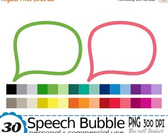 50% OFF Speech Bubble Clipart - Cartoon Clip Art -  Thought Cloud Clipart - Call out - Digital Graphic Design -  Commercial Use - 30 colors