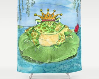 Frog Shower Curtain -  Frog King blue and green, whimsical, kid's colorful shower curtain,  bathroom, unique, fun decor