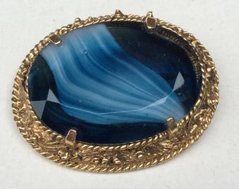 Vintage 1970s Streaky Blue Glass Stone Costume Brooch