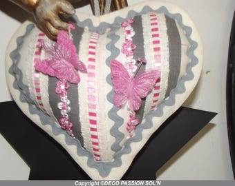 SHABBY CHIC HEART PILLOW TO HANG (REF 2664)