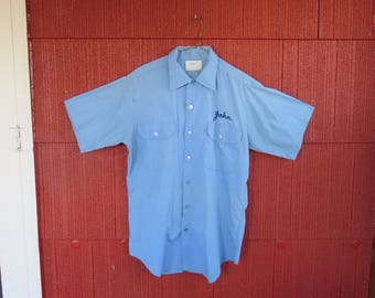 "Vintage 1960s blue worker's shirt top Conqueror union made Coppes Kitchens Nappanee IN 44"" chest (111617)"