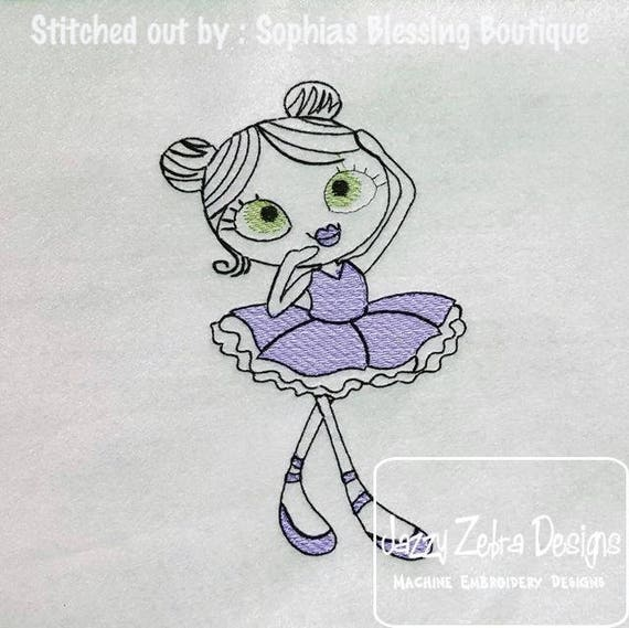 Swirly Ballerina 4 Sketch embroidery design - Ballerina embroidery design - ballet embroidery design - girl embroidery design - dance