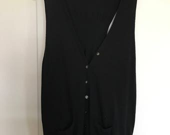oversized button down black vest