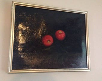 Vintage Original Oil Painting Striking Black with Red Apples Signed