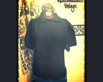 1980's Plus Size Black Rockabilly Scalloped Collared Shirt by Act III, Size 16, Vintage Hipster Black Button Up Shirt, 80's Black Dress Shir