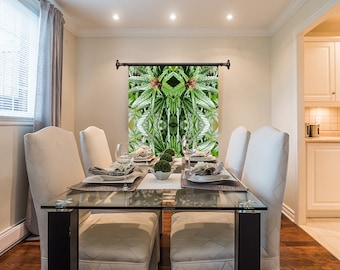 Marijuanna Art, Blue Widow Flower Cannabis Wall Art,Exotic Plant Art,Kaleidoscope Art Prints,Tropical Wall Art Fabric, Large Botanical Print