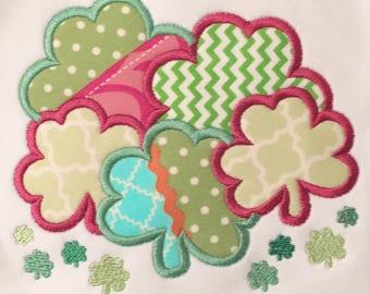 Clover Bunch Appliqué | Girls St. Patty's Day | Monogram