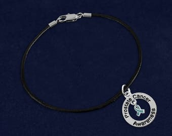 12 Prostate Cancer Awareness Black Leather Cord Bracelets in Gift Boxes (12 Bracelets) (BC-126-12PC)