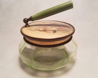 Antique Victorian Uranium (Vaseline Glass) Powder Jar with Folding Bakelite Handle Made in Germany