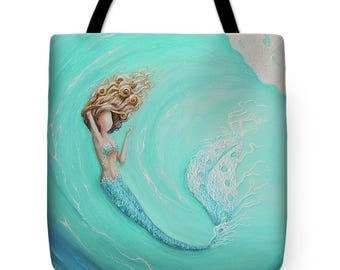 Mermaid tote bag, mermaid purse,  mermaid teal beach tote bag, original painting by Nancy Quiaoit