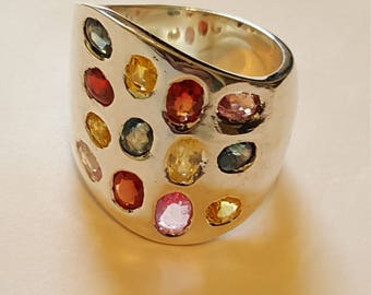 Silver ring with multi colour Sapphires