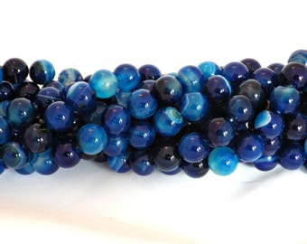 10mm Blue Striped Agate Beads - 38 Beads