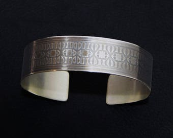 New Orleans sterling silver etched cuff, wrought iron Fence design