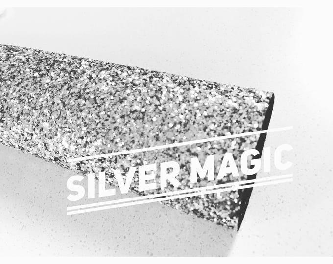 Silver Magic Chunky Glitter Fabric PRE-ORDER