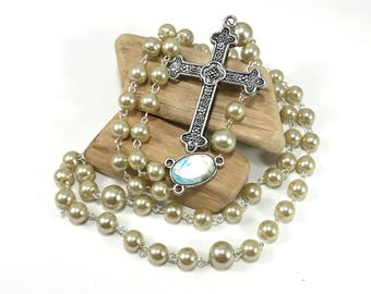 Gold Glass Pearl Rosary; Gold Catholic Rosary; Golden Tan Rosary