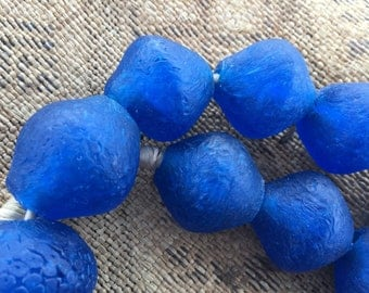 "Ghana New producation powder glass Africa trade beads eggs shaped beads 21"" inches"