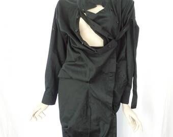 vintage JNBY crazy avant garde deconstructed black blouse/ 1000 ways to button and drape: size M woman