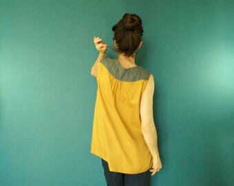 mustard yellow cotton crepe top Japanese Navy Blue and waves. Sleeveless