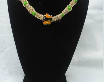 butterfly, hemp, handmade, necklace, wood, beads, macrame,