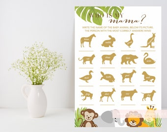 Who is my mama? Game printable, safari palm leaves gold shower game, gender neutral shower, downloadable shower game, INSTANT DOWNLOAD 009