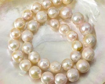389 ct Kasumi Multi-Color FRESHWATER PEARLS 16.1 inch STRAND Nucleated Baroque