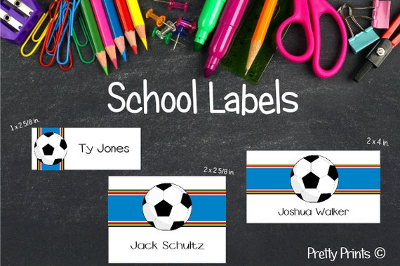 Back to School Labels, Soccer Stickers, Soccer Labels, School Labels, Personalized Stickers, Personalized Labels, Tags, Boy Labels