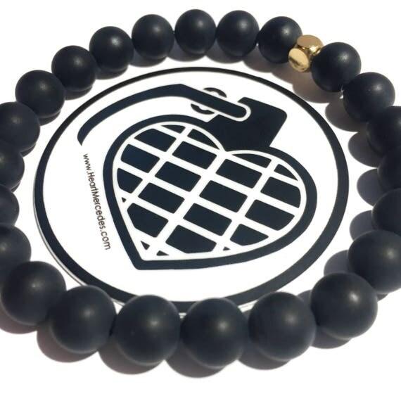 Matte Onyx (Strength) beaded  Bracelet 8mm, gemstone, black, Meditation, Yoga, Mala, Gold plated, mens, womens, unisex
