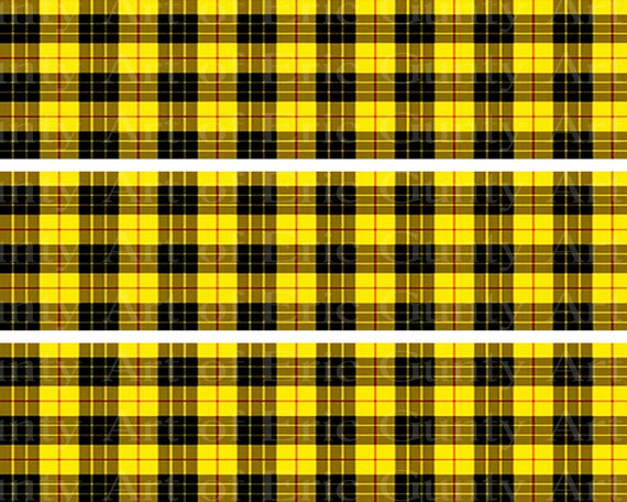 Yellow Plaid Birthday - Designer Strips - Edible Cake Side Toppers- Decorate The Sides of Your Cake! - D22727