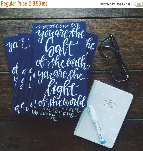 ON SALE Prayer journal, salt of the earth, salt and light, beach gift, scripture gift, Matthew 5